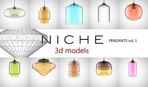 niche modern pendants 1 3d model