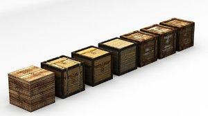 7x german crates 3d obj