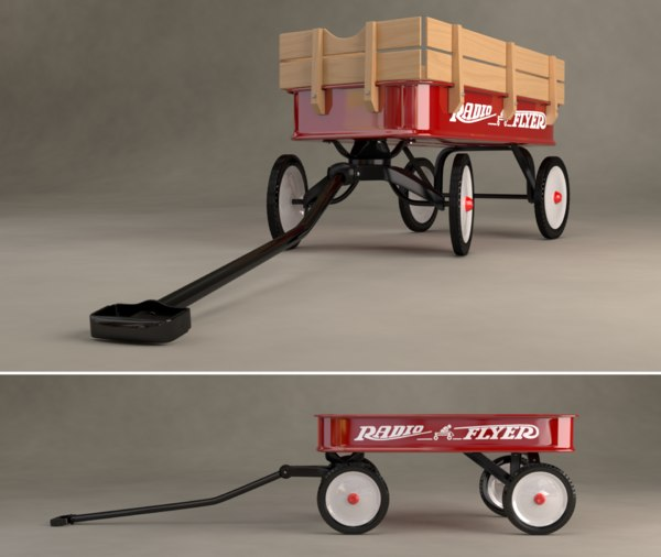 radio flyer wagon 3d obj