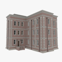 brick apartment building interior exterior 3d fbx