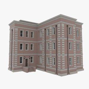brick apartment building interior exterior 3d fbx