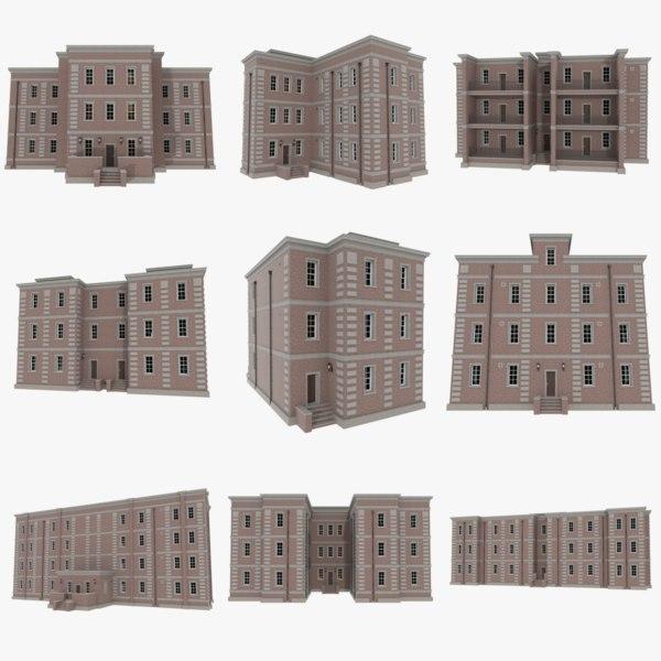 3d set brick apartment buildings