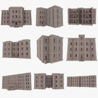 Brick apartments pack with interiors textured