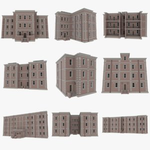 3d set brick apartment buildings