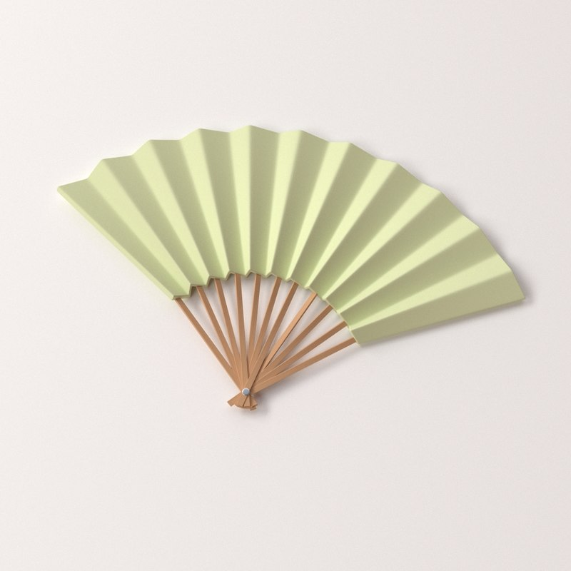 3d paper hand fan model
