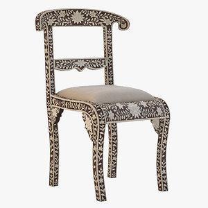 3d model chair bone inlay