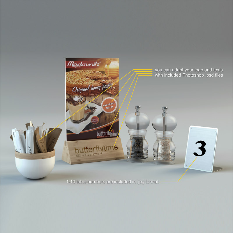 3d model table cafe restaurant