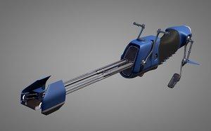 3d model science fiction bike motorcycle