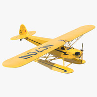 Light Aircraft Piper J 3 Seaplane Yellow 2