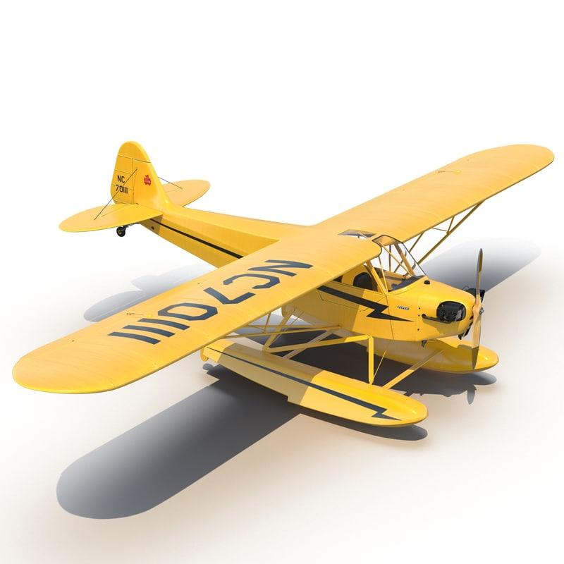light aircraft piper j 3d model