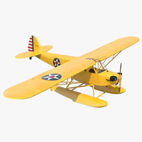 light aircraft piper j 3d model
