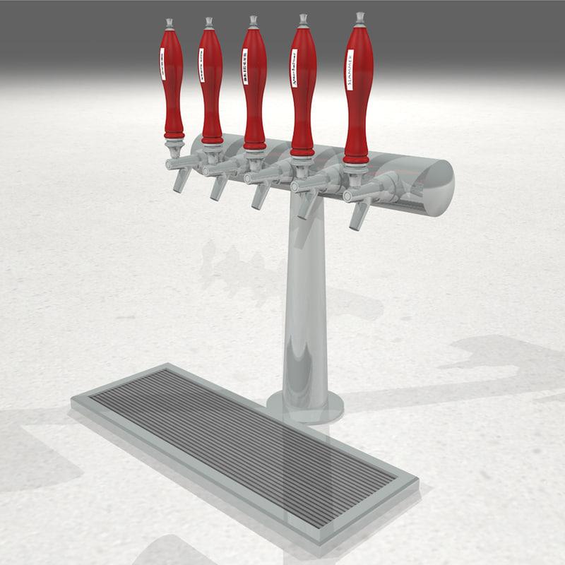 beer taps handles 3d model
