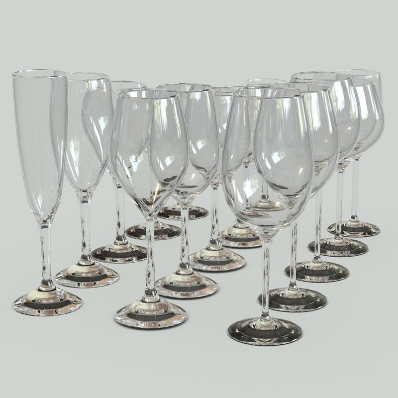 set glass bocals 3d max