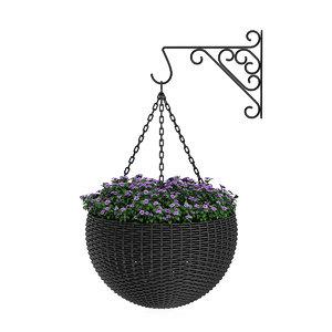 3d flowers black wicker