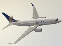 3d boeing 737-700 united airlines model