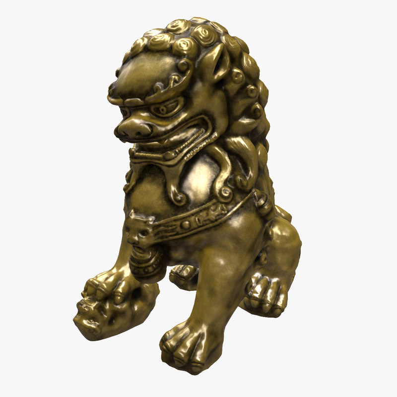 3ds max statue chinese lion 5