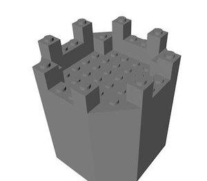 lego octagonal castle tower 3d dxf