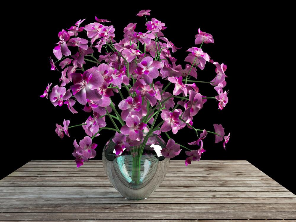 orchid bouquet glass vase obj
