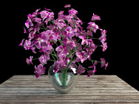 orchid bouquet glass vase obj
