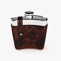 flask drink leather 3d model