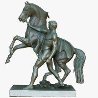 3d model sculptural taming horse statue