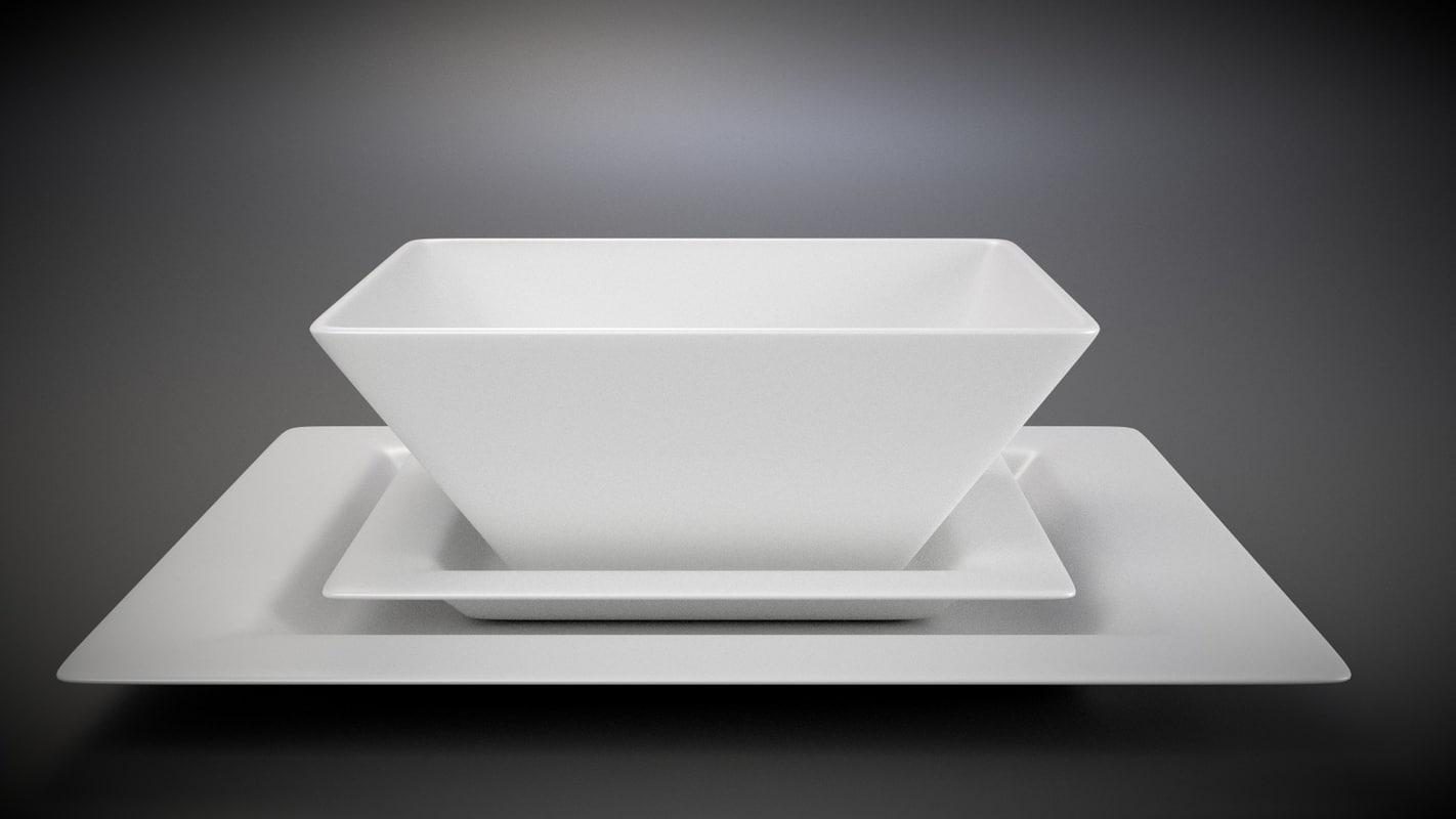 3d model square plate set