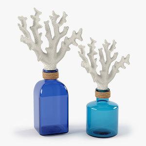 set decorative glass jar 3d model