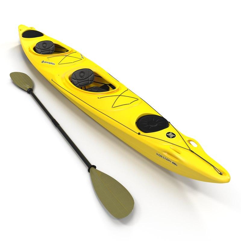 3d model kayak 2 yellow paddle