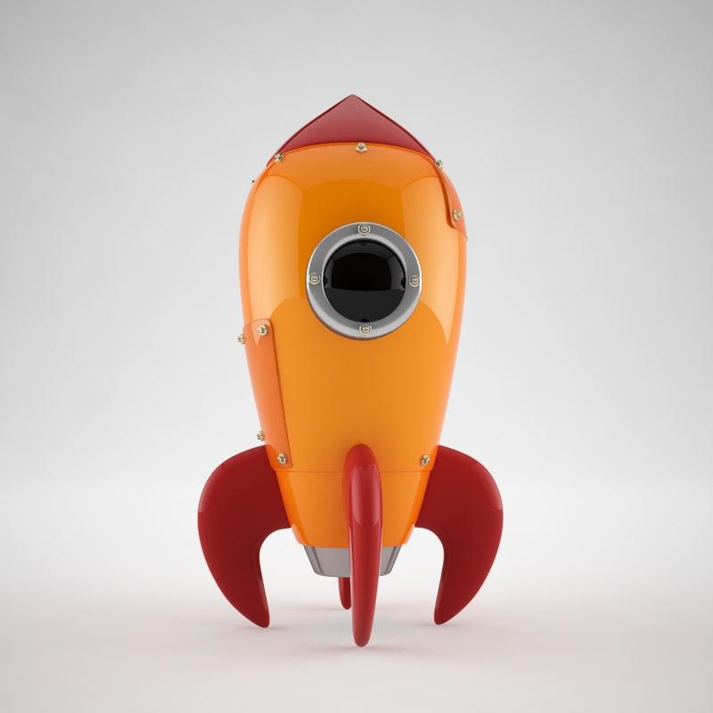 3d cartoon rocket model