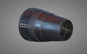 3d model of thruster jet spaceship