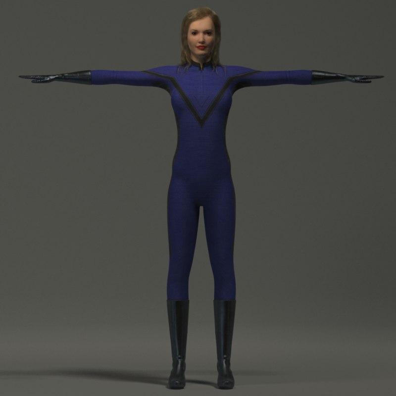 girl space suit 3d model