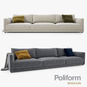 poliform bristol seater sofa 3d max