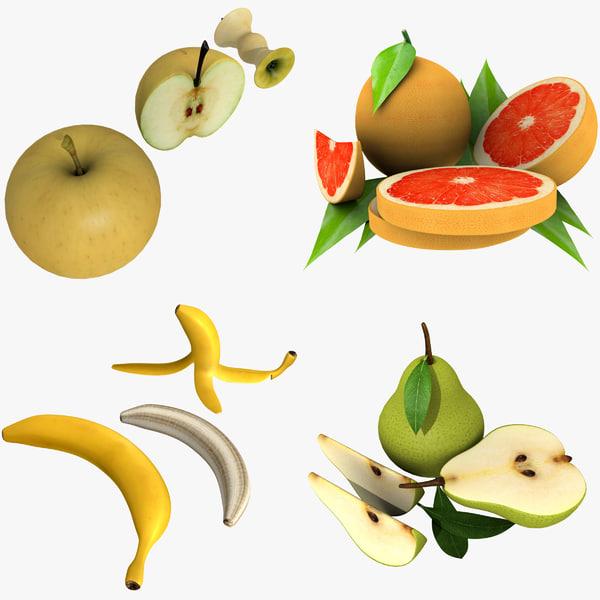 fruit apples grapefruits 3d model