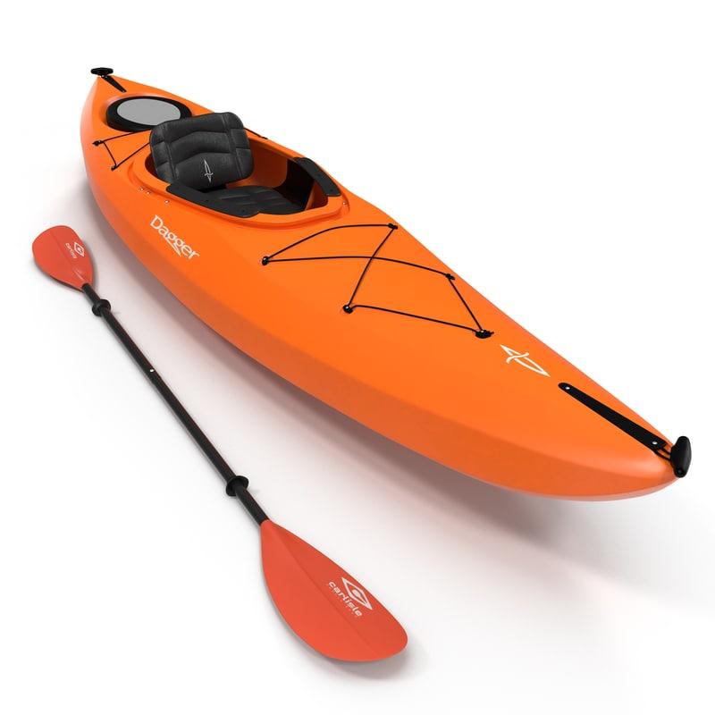 3d kayak orange paddle model