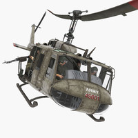 3d model bell uh-1d iroquois military helicopter