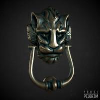 3d model lion head door knocker