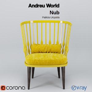 3d model andreu world nub armchair