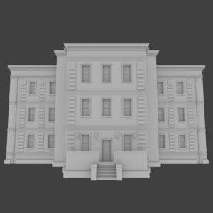 brick apartment building interior exterior 3d model