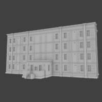 3d model brick apartment building interior exterior