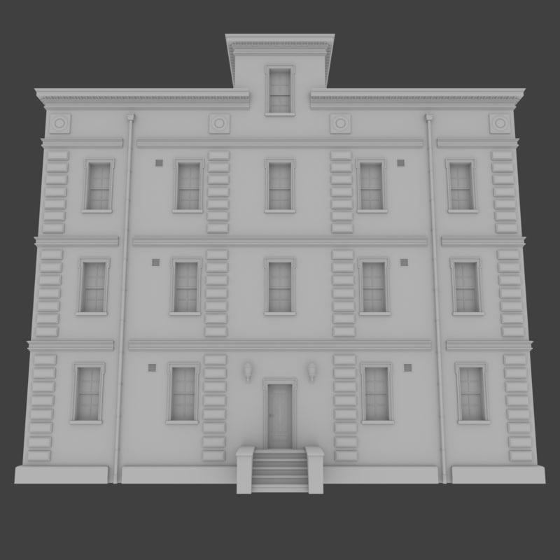 brick apartment building interior exterior 3d obj