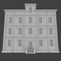 brick apartment building interior exterior 3d obj