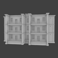 brick apartment building interior exterior 3d model