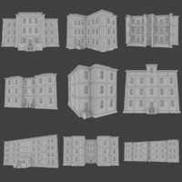 set brick apartment buildings obj