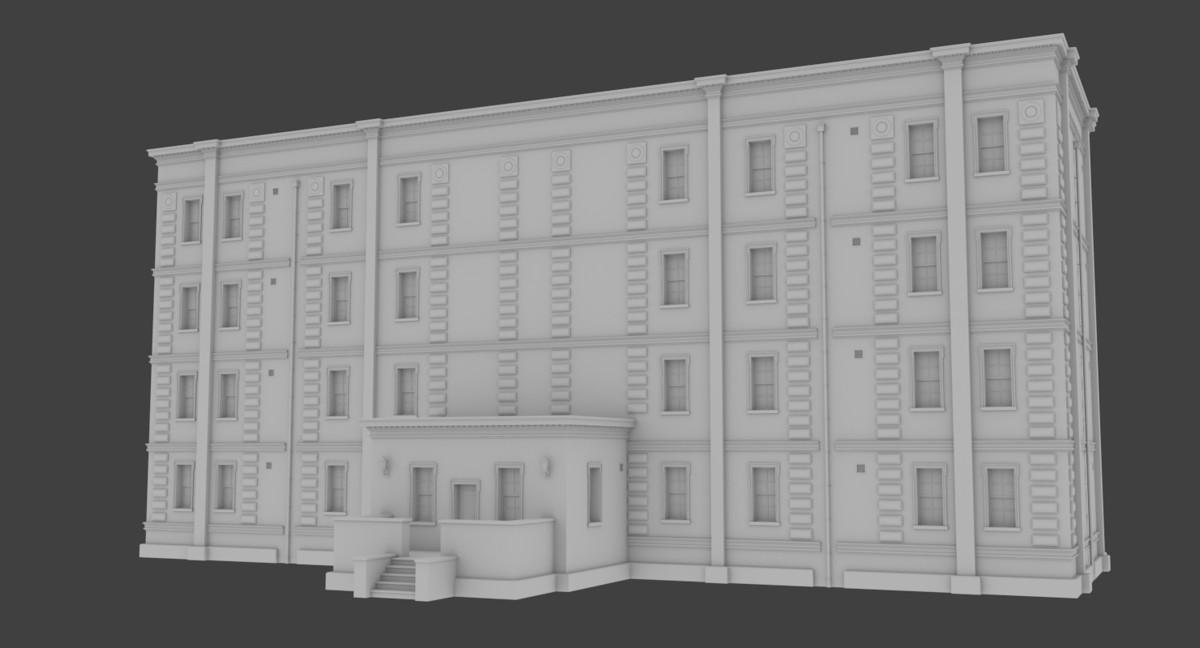 set brick apartment buildings obj