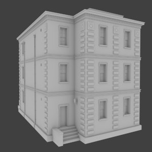 3d obj brick apartment building interior exterior