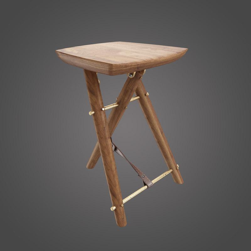 3d langhorne stool chair model