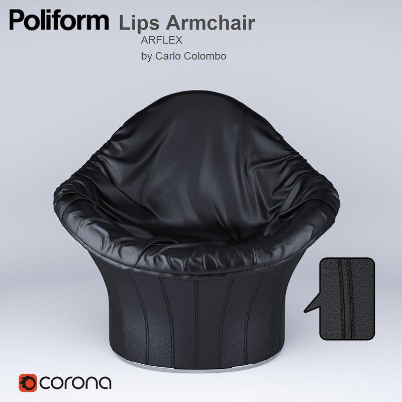 3dsmax lips armchair carlo colombo