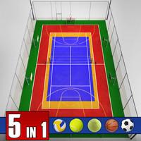 3dsmax multi sport court pack