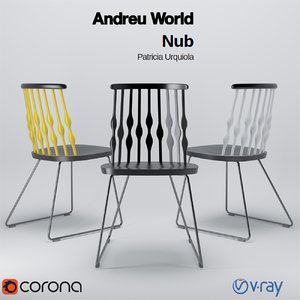 3d model of andreu world nub chair