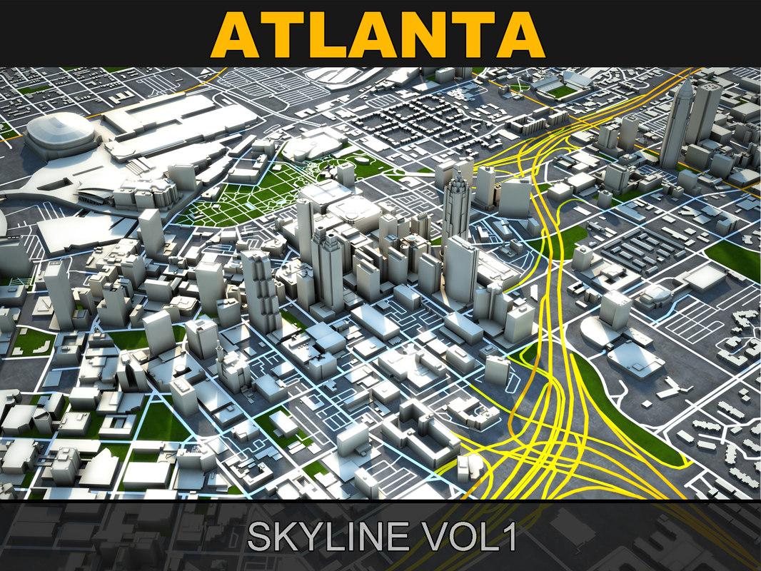 atlanta skyline 3d model
